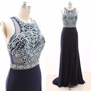 Sheath Jersey Navy Formal Evening Gown Prom Dress